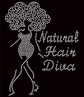 Natural Hair Diva Afro Girl Big Hair Rhinestone Transfer