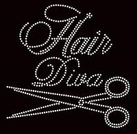 Hair Diva Scissors Rhinestone Transfer Iron On