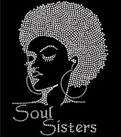 Soul Sisters Afro girl Lady (Clear) Rhinestone Transfer