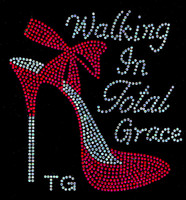 (Red) Walking in Total Grace TG Heel  Stiletto Rhinestone Transfer