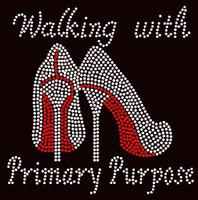 Walking with Primary Purpose Heel Stiletto Religious Rhinestone Transfer