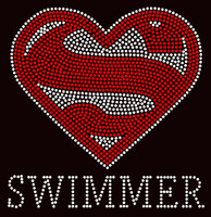 Super Swimmer Rhinestone Transfer Iron on