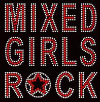 Mixed Girls Rock red Rhinestone Transfer Iron on