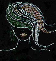 (Green Golden) Afro Girl Straight hair Rhinestone Transfer
