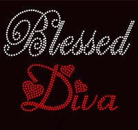 Blessed Diva (Text) RED Religious Rhinestone Transfer text