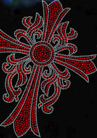 Cross Leaf RED Religious Rhinestone transfer