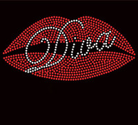 Lips Diva Rhinestone Transfer Iron On