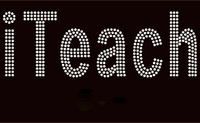 iTeach (text) Rhinestone Transfer Iron on