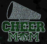 (GREEN) Cheer Mom under Clear Horn Megaphone Rhinestone Transfer