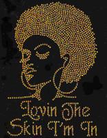 Lovin the Skin I'm in Afro girl Lady (GOLDEN) Rhinestone Transfer