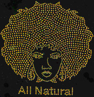 All Natural Afro Girl (GOLDEN) Rhinestone Transfer