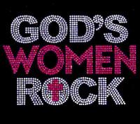 God's Women Rock (Clear Fuchsia) Rhinestone Transfer