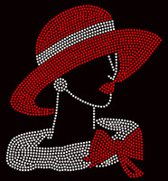 (Filled) Red Hat Lady with Red Bow Delta Rhinestone Transfer