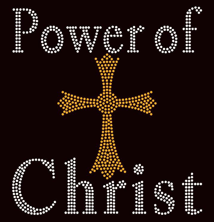 Power of Christ Golden Cross Religious Rhinestone transfer - Texas ... f87538230254