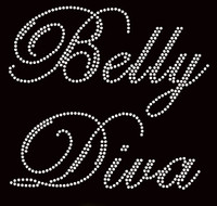 Belly Diva CLEAR Rhinestone Transfer Iron on Text