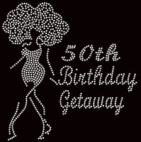 50th Birthday Getaway Rhinestone Transfer Big Hair