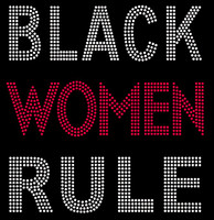 Black Women Rule Bold (Red) Text Afro Rhinestone Transfer