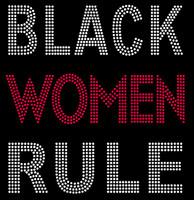 Black Women Rule Bold (Red) Text Afro Rhinestone Transfer