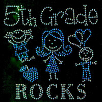 5th Grade Rocks (Aqua Blue) Kids School Rhinestone Transfer