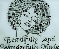 (Black) Beautifully And Wonderfully Made Afro Lady Girl Rhinestone Transfer