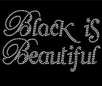 Black is Beautiful (Text) Afro Rhinestone Transfer