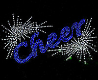 Cheer Spray (BLUE) Rhinestone Transfer Iron on