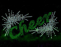 Cheer Spray (GREEN) Rhinestone Transfer Iron on