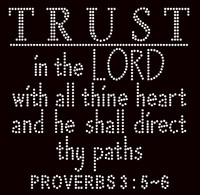 Trust in the Lord Religious Rhinestone Transfer text