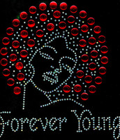 Forever Young Afro Lady Girl (RED) Rhinestone Transfer