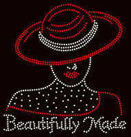 (New) Beautifully Made Red Hat Girl Rhinestone Transfer