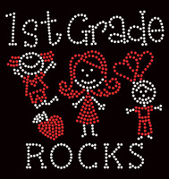 1st Grade Rocks (2 colors) Kids School Rhinestone Transfer