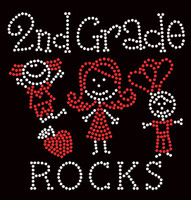 2nd Grade Rocks (2 colors) Kids School Rhinestone Transfer