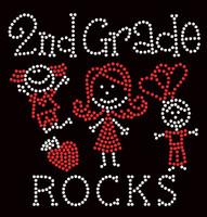 2nd Grade Rocks (2 colors) Kids School Rhinestone Transfer