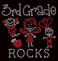 3rd Grade rocks (2 colors) Kids School Rhinestone Transfer