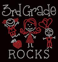 3rd Grade rocks (2 colors) Kids School Rhinestone Transfer