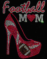 Football Mom Heel Stiletto (Fuchsia Hot Pink) Heart Rhinestone Transfer