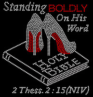 Standing BOLDLY on his word Holy Bible (Joint Shoes) Heels Stiletto 2 Thess. 2:15 (NIV) Rhinestone Transfer