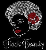 Black Beauty Afro Girl Red Bow Rhinestone Transfer