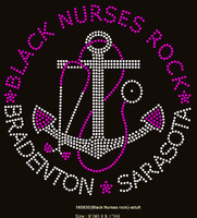 "(24 Qty) Black Nurses Rock (Large) Size:9"" - Custom Order Rhinestone Transfer"