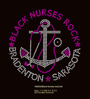 "(24 Qty) Black Nurses Rock (Small) Size:7.5"" - Custom Order Rhinestone Transfer"