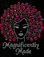 Magnificently Made Afro Girl (Fuchsia) Rhinestone Transfer