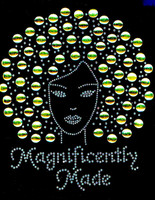 Magnificently Made Afro Girl (Golden) Rhinestone Transfer