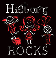History Rocks (2 colors) School Rhinestone Transfer