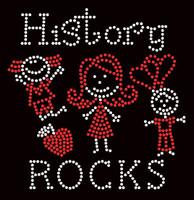 History Rocks (2 colors) School Rhinestone Transfer