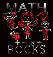 Math Rocks (2 colors) Kids School Rhinestone Transfer