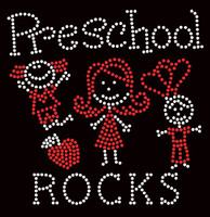 PreSchool Rocks (2 colors) Kids School Rhinestone Transfer