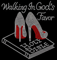 Walking in God's Favor Holy Bible Heel Stiletto Religious Rhinestone Transfer