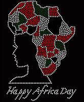 Happy Africa Day Lady Girl Rhinestone Transfer