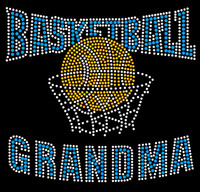 BasketBall Grandma net (Blue) Rhinestone Transfer