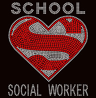 Super School Social Worker Rhinestone Transfer